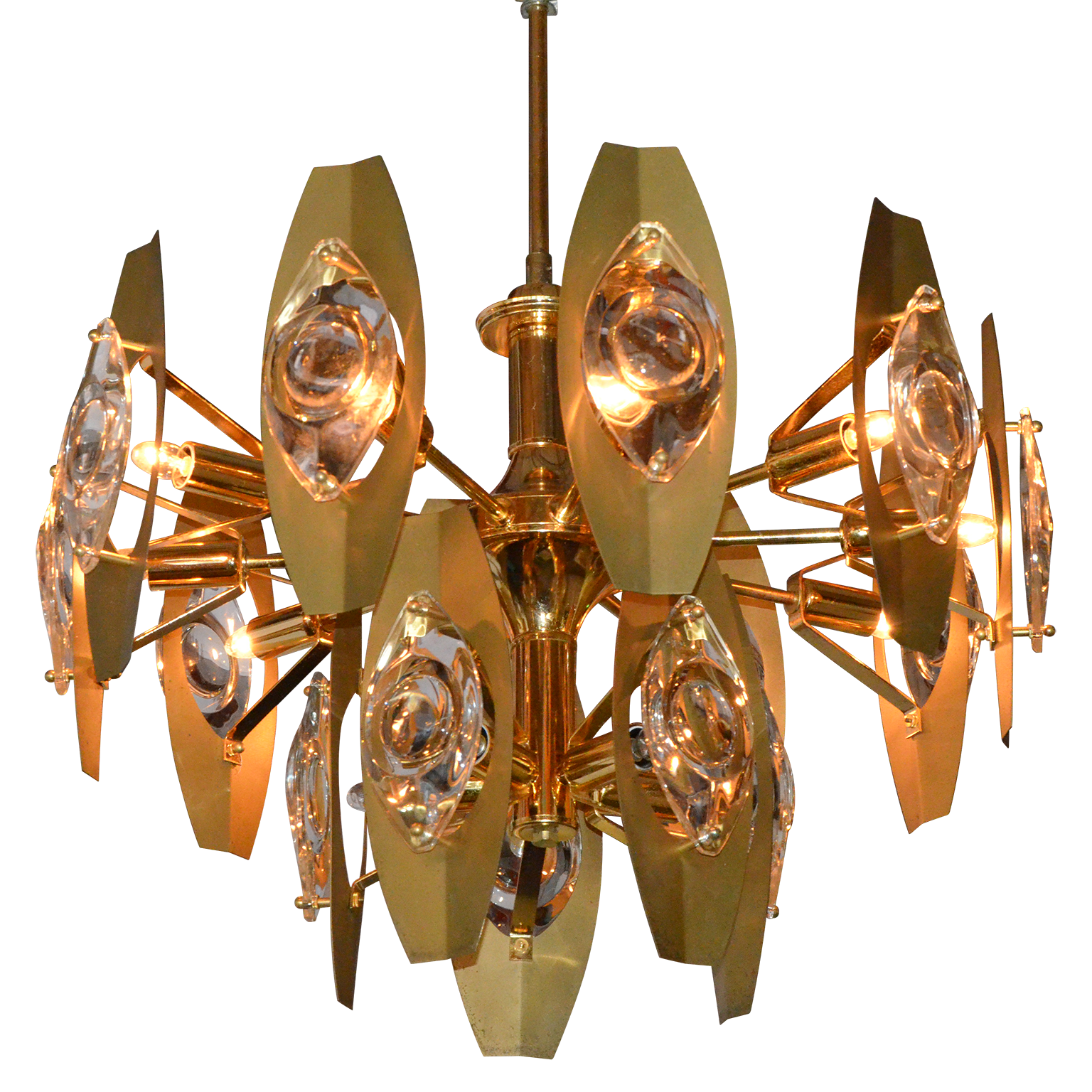 Sonneman Brass And Glass Chandelier