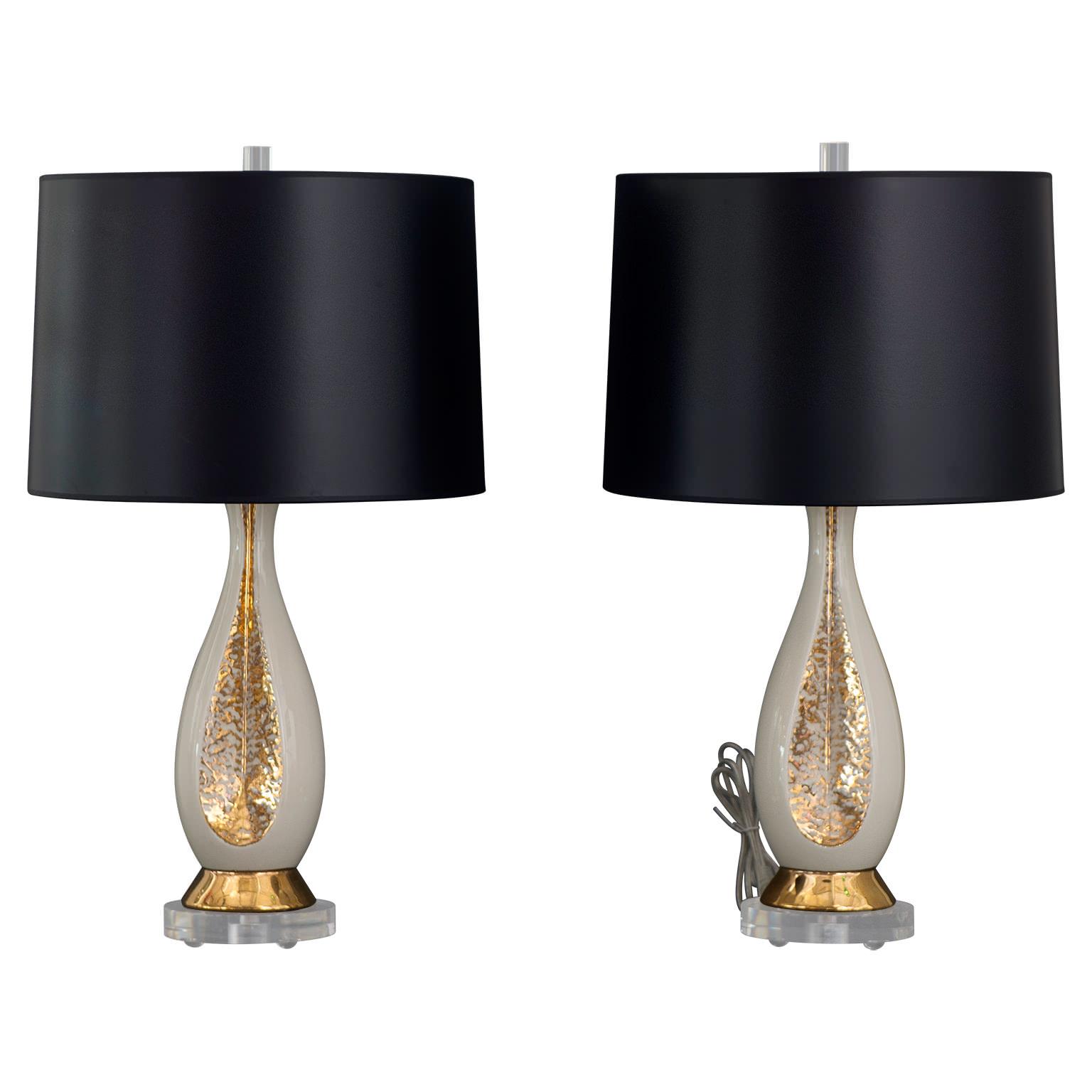 Mrspkandoz pair of danish creamy white gold table lamps pair of danish creamy white gold table lamps mozeypictures Gallery