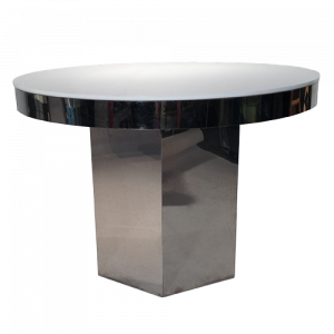 chrome and lucite table with hexagon base