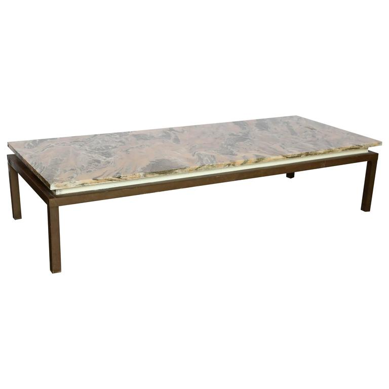 Mid Century Modern Marble Top Coffee Table: Mid Century Modern Marble Swirl Top With