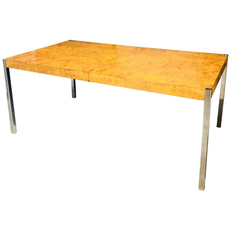 Mid Century Modern Milo Baughman Burl Wood And Chrome Dining Table