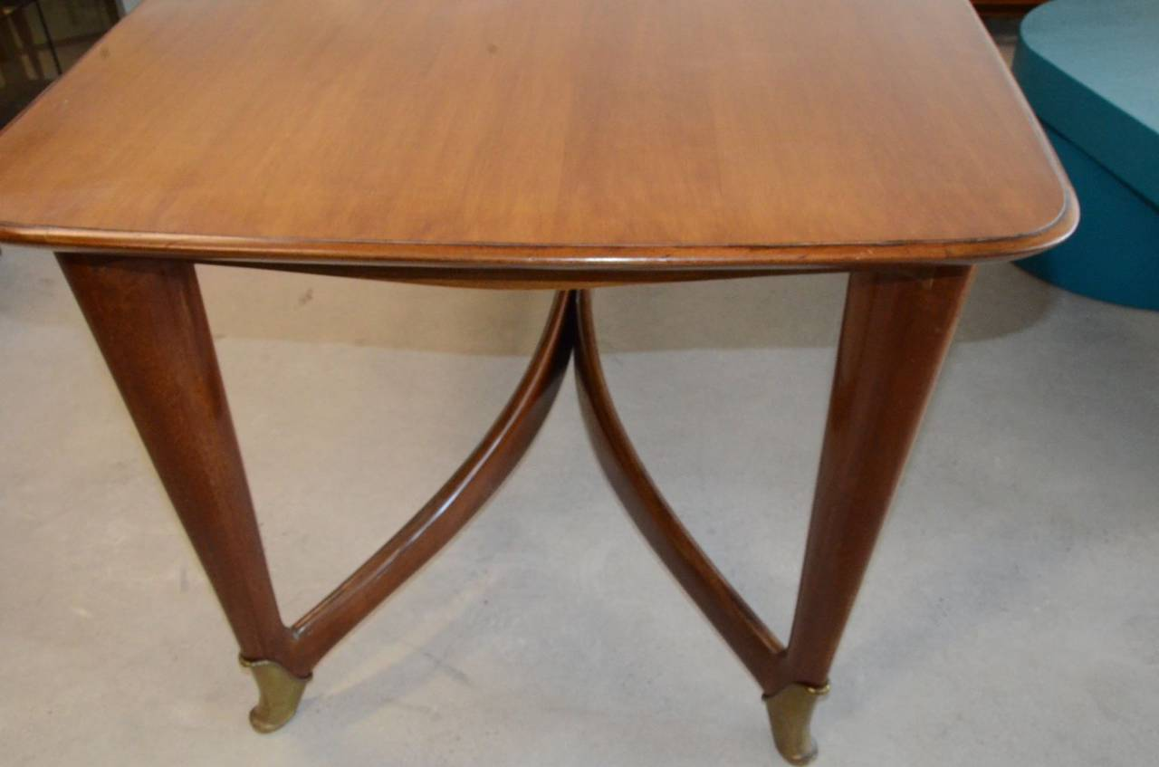 Mid Century Modern Paolo Buffa Italian Walnut Dining Table With Br Accents