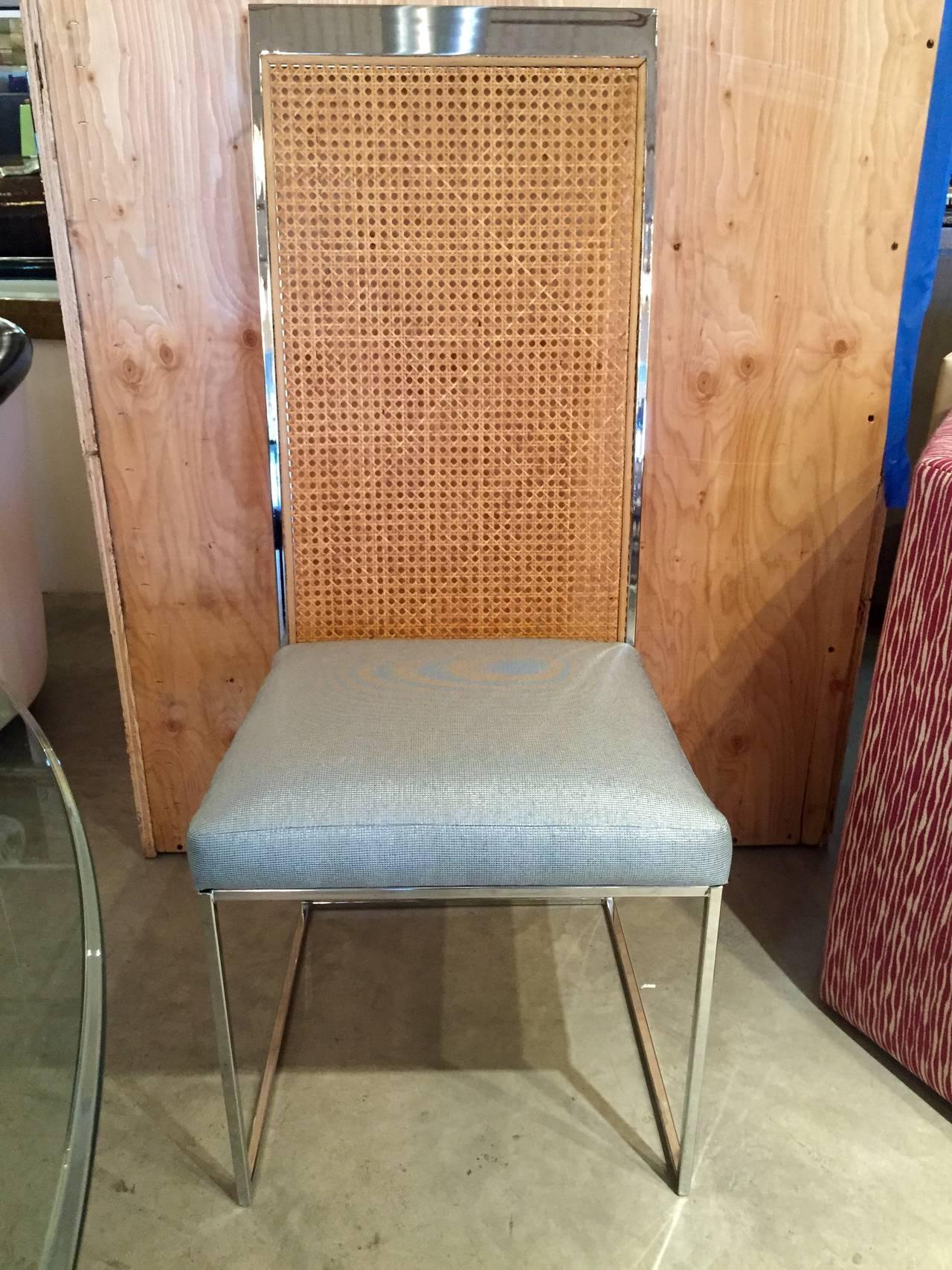 Mrspkandoz Mid Century Modern S8 Milo Baughman New Fabric Chrome Cane Back Dining Chairs