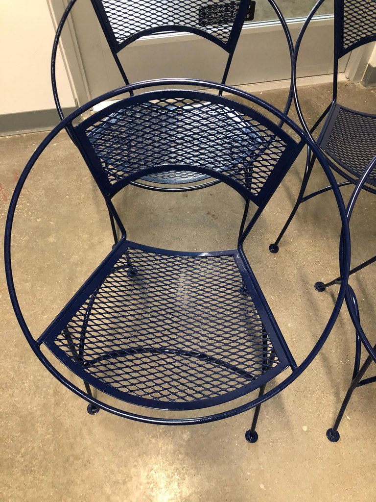 S 4 Mid Century Modern John Salterini Wrought Iron Navy Blue Radar Patio Chairs