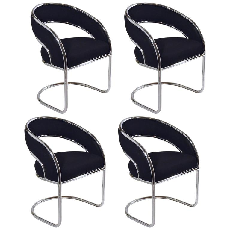 Groovy S 4 Mid Century Modern Upholstered In Black Wool And Chrome Armed Dining Chairs Caraccident5 Cool Chair Designs And Ideas Caraccident5Info